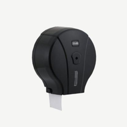 სურათი Mini Jumbo WC Tissue Dispenser Black საპირფარეშოს ქაღალდის დისპენსერი შავი